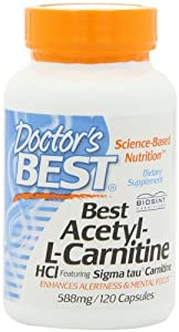 Doctor's Best Best Acetyl L-carnitine Featuring Sigma Tau Carnitine (588 mg), Capsules, 120-Count