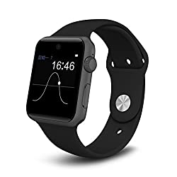 Bingo T50 S Deep Black with 360-degree arc HD Screen With Voice Control Smartwatch Supports Bluetooth, Android & IOS System wtih Extra USB LED Free