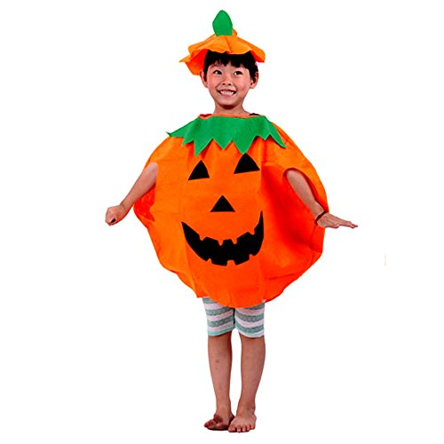 [Unisex Halloween Orange Pumpkin Costume for Children Cospaly Party Clothing] (Family Themed Fancy Dress Costumes)