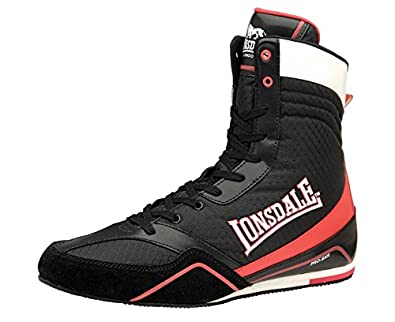 LONSDALE Quick Adult Boxing Boots, Black/Red, US12