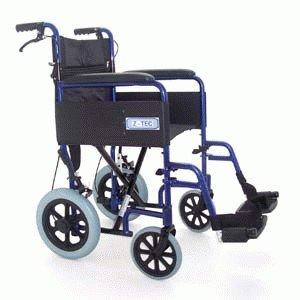 Z-TEC - Aluminium Lightweight Folding Transit Wheelchair With Brakes In Metallic Blue - BRAND NEW 2012 MODEL!