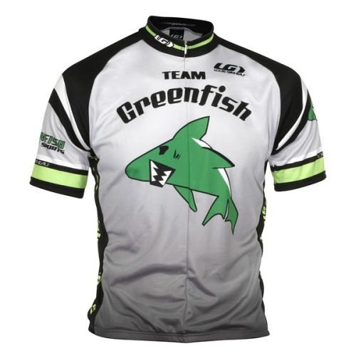 Greenfish Sports S/S Club Cycling Jersey, Large, Grey/Black