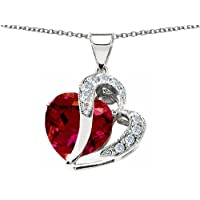Original Star K (tm) Large 12mm Created Ruby Double Heart Pendant with Sterling Silver Chain