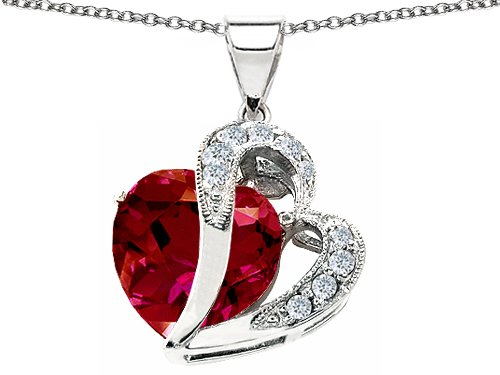 10.30 cttw 925 Sterling Silver 14K White Gold Plated Lab Created Heart Shape Ruby Pendant
