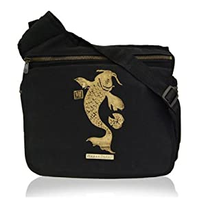 black designer diaper bag mu5m  Diaper Dude Black Faux Suede Koi Messenger Diaper Bag