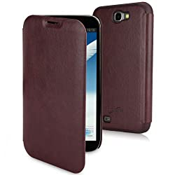 BoxWave Samsung Galaxy Note 2 SlimFlip Leather Case - Slim, Snap-Fit Hard Case with Soft Leatherette and Stylish Front Flap - Samsung Galaxy Note 2 Cases and Covers (Burgundy)