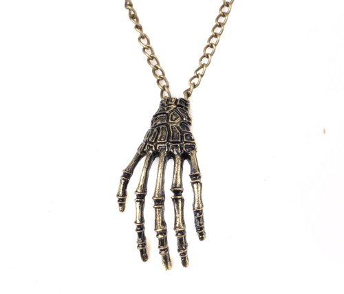 Vintage Skeleton Hand Pendant Chain Necklace Gothic Biker