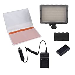 Neewer® CN-216 216PCS LED Dimmable Ultra High Power Panel Digital Camera / Camcorder Video Light for Canon, Nikon, Pentax, Panasonic, Sony, Samsung and Olympus Digital SLR Cameras with DC 7.2V Replacement Digital Camera Battery NP-F550/ NP-F570 and AC Wa
