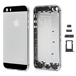 High Quality Full Housing Faceplates w/ Buttons SIM Card Tray for iPhone 5S - Black / Grey