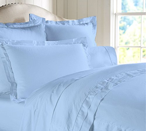 "Egyptian Cotton Luxurious Fitted Sheet With 15"" Deep Pocket 600 TC Solid By Amrich Bedding ( Full , Light Blue..."