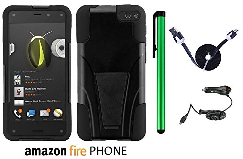 Amazon Fire Phone Premium Design Hybrid T-Stand, Flex Skin And Polycarbonate Hard Cover With Kickstand (Us Carrier: At&T; Released In July 2014) + Car Charger + 1 Of 1M/3Feet Stylish Micro Usb To Usb 2.0 Data Sync Charger Flat Cable + 1 Of New Assorted Co front-1013131