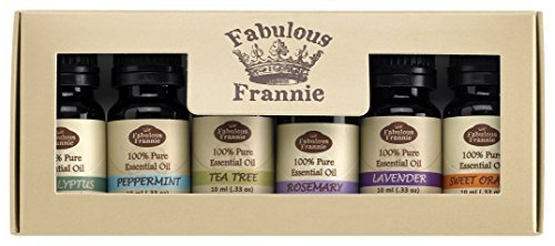 Fabulous Frannie High-Quality 6-Pack Aromatherapy Basic Sampler Gift Set of 100% Pure Therapeutic Grade 10ml Essential Oils (Eucalyptus, Lavender, Peppermint, Rosemary, Sweet Orange, Tea Tree)
