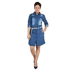 EIMOIE Women's Solid Casual Denim Dress (Indigo)