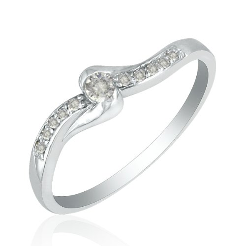 10K White Gold 11 Stone Diamond Promise Ring .09ct tw, Available Ring Sizes 4-10, Ring Size 7