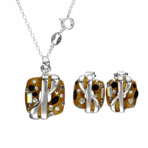 Sterling Silver Crystals Ladies Jewelry Set. Length 14 in. Total Item weight 4.6 g.