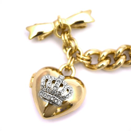 Juicy Couture Juicy Couture Bow Toggle Heart Crown Bracelet, Gold