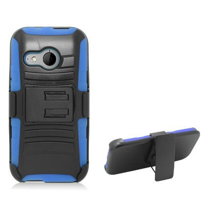Cell Accessories For Less (Tm) For Htc One Mini 2 / M8 Miniblack Armor W/Stand, Blue Skin& Black Belt Clip + Bundle (Stylus & Micro Cleaning Cloth) - By Thetargetbuys