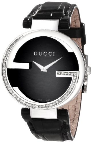 Gucci Women's YA133305 Interlocking Black Crocodile Steel and Diamond Watch