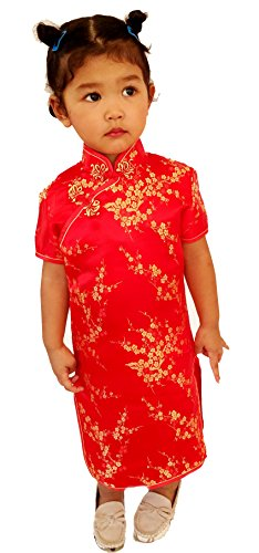Big Girls' Chinese Geisha Qipao Dress With Sakura Flower Costume And Cosplay 8 Red