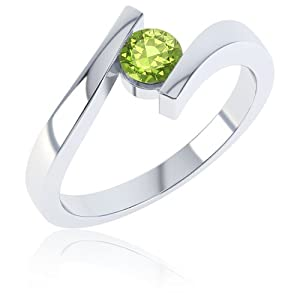 Peridot Round Stackable Silver Crossover Ring I