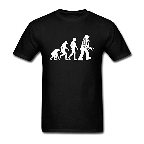 Cinxon Man The Big Bang Theory Robot Evolution Black Crew Neck Short T-shirt Black XXL (Epson Robot compare prices)
