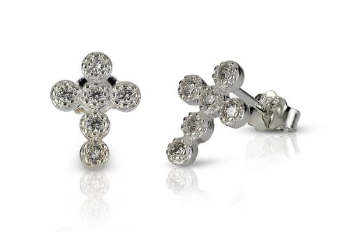 Sterling Silver Cross Bezel Set CZ Stud Earrings