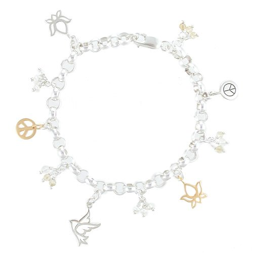 Lotus Flower, Peace Sign, and Dove Charm Bracelet in Sterling Silver and Gold Vermeil with Citrine and Pearl Beads on a 7 1/2
