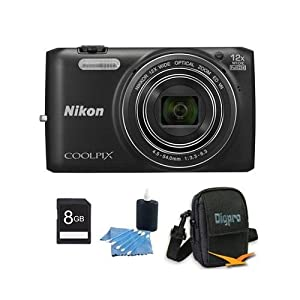 Nikon COOLPIX S6800 16MP 1080p HD Video Digital Camera Black 8GB Kit