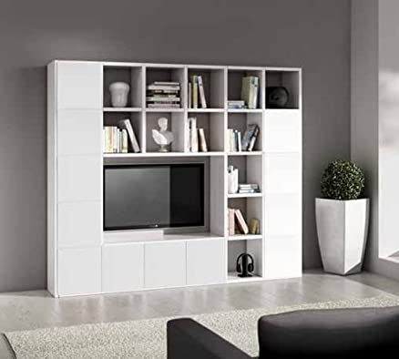 Parete attrezzata porta tv libreria bianco frassinato 25 elementi 12 antine