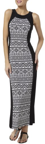 R & M Richards Border Tribal Print Maxi Dress 12 Black white