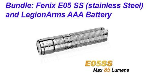 Fenix E05 Stainless Steel E05Ss 85 Lumen Led Key Chain Edc Flashlight With Legionarms Aaa Battery