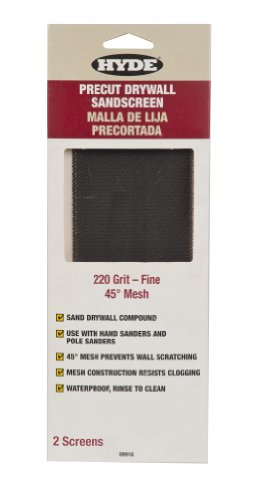 Hyde Tools 09916 Drywall Sandscreen, 45 Degree Mesh, 220 Grit-Fine, 2-Pack