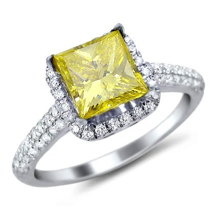 1.84ct Fancy Canary Yellow Princess Cut Diamond