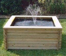 Square raised garden pool 120 gallon liner pump fish for Simple pond pump