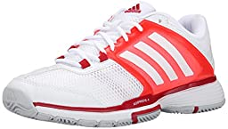 adidas Performance Women\'s Barricade Team 4 W Tennis Shoe, White/White/Solar Red, 9.5 M US