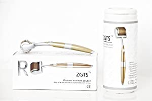 ZGTS Professional Luxury Gold Plated Titanium Alloy Needles Roller Treating Acne Scars, Skin, Hair Loss, Wrinkles, Blackheads, Lines, Sun Damaged, Ageing- Daily Care Product, Reducing Blemishes Scars Potholes Cellulite Stretchmarks Uplifting Whitening Reg