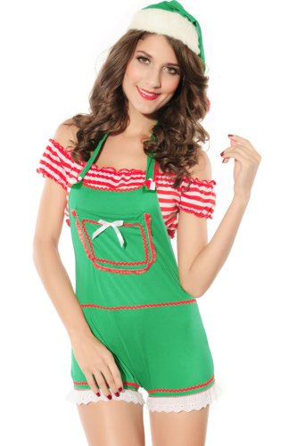 Deargirl 3PC Sexy Christmas Elf Costume Green