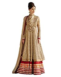 now at wow Women's Net and Georgette Anarkali Suit Dress Material _ Pink