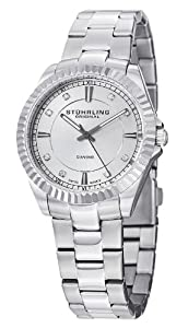 Stuhrling Original Women's 408LD.01 Aquadiver Marine Diamond Analog Display Swiss Quartz Silver Watch