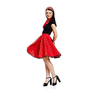Kostümplanet® Rockn Roll Rock Kostüm rot mit passendem Schal Tellerrock 50er Jahre Rock n Roll Kostüm
