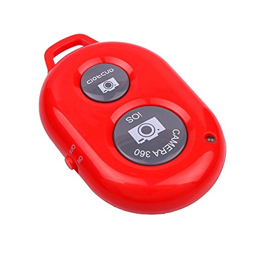 Konsait Bluetooth Wireless Remote Control Camera Photo Selfie Shutter Release Self Timer for iPhone 6 iPhone 6 plus 5S 5C 5 4S 4, iPad Air Mini, Samsung Galaxy S5 S4 S3 Note 4 3 Tab, Google Nexus, HTC, Sony and other iOS Android Phones Red