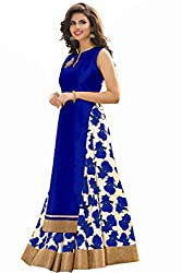 Spangel Fashion Festive Special New Fancy Blue And White Flower Print Indo Western Lehenga