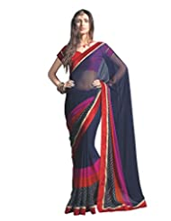 Anvi Creations Navy Blue Lacer Printed Georgette Saree (Navy Blue_Free Size)