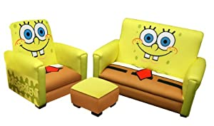 Nickelodeon Deluxe Toddler Sofa, Chair and Ottoman Set, Sponge Bob