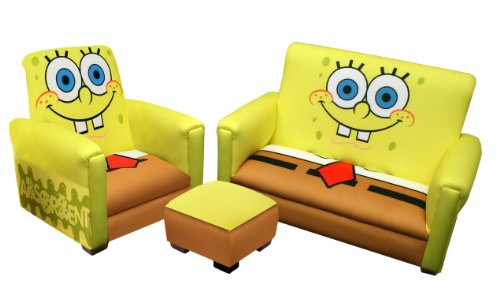 Nickelodeon Deluxe Toddler Sofa, Chair and Ottoman Set, Sponge Bob