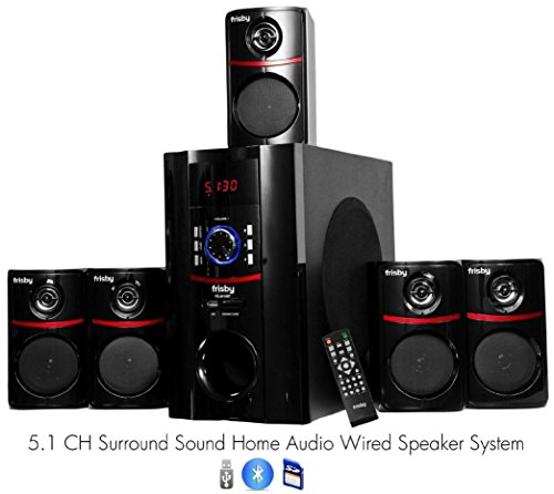 Best Buy! Frisby FS-5010BT 5.1 Surround Sound Home Theater Speakers System with Bluetooth USB/SD and...