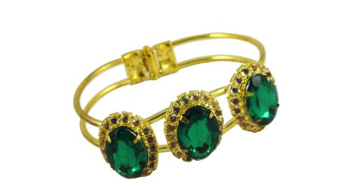 Costume jewellery Bracelet Green oval stone gilt hinged bangle