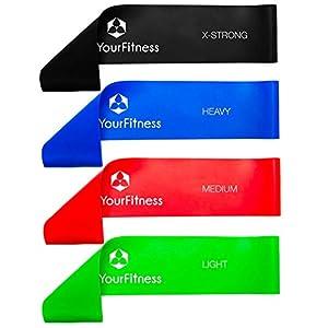 4 articles Bande de fitness »Achilles«, loop-band en latex pour le fitness, rééducation et physiothérapie, en 4 forces, vert/légère, rouge/moyenne, bleu/forte, noir/intense