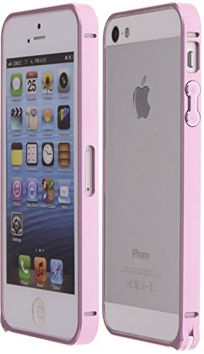 Wild Wolf Ultra-Slim Aluminum Alloy Bumper Frame Case With Clasp Closure Armor Metal Buckle Metal Bumper Case (Iphone 5/5S, Pink)