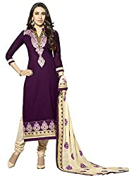 Sheknows Purple Pure Cotton Embroidered Dress Material